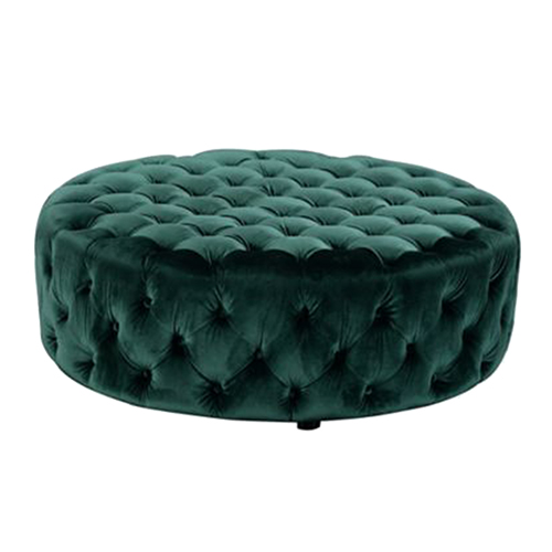 French-Round-Ottoman—Emerald-Green