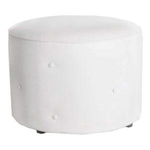 Single-Seater-Round-Deep-Button-Ottoman—White